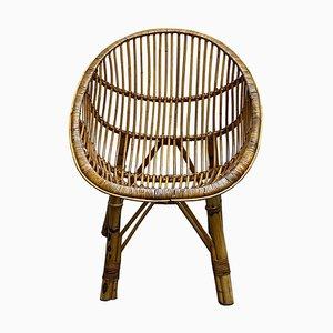 Poltrona Mid-Century in bambù e vimini, anni '50