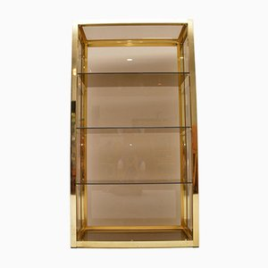 Vintage Italian Brass Display Cabinet or Bookcase from Zevi, 1970s