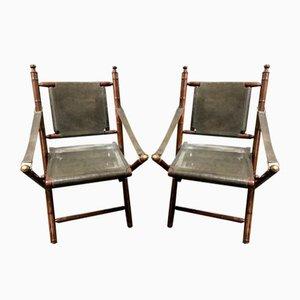 Buffalo Leather Folding Chairs, 1970s, Set of 2