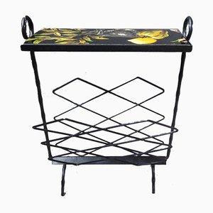 Mid-Century Iron & Formica Side Table with Magazine Holder, 1950s