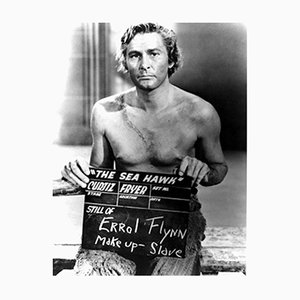 Errol Flynn Makeup Test Archival Pigment Print Framed in Black by Everett Collection