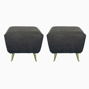 Vintage Fabric & Brass Ottomans, 1970s, Set of 2