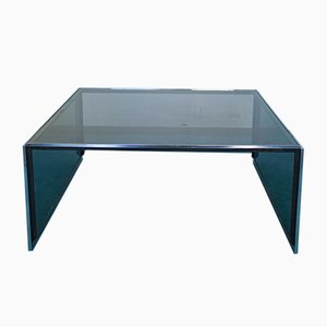Vintage Chromed Steel & Smoked Glass Coffee Table, 1970s