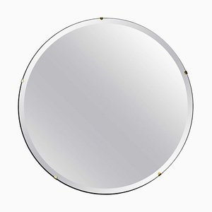 Orbis™ Bevelled Round Frameless Modernist Mirror with Brass Clips Regular by Alguacil & Perkoff Ltd
