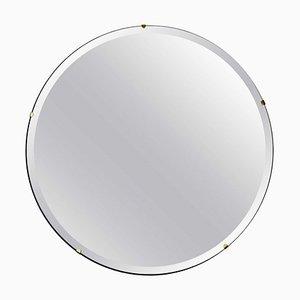 Orbis™ Bevelled Round Frameless Modernist Mirror with Brass Clips Regular by Alguacil & Perkoff Ltd