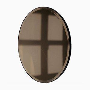 Orbis™ Bevelled Round Bronze Tinted Mirror with Black Metal Frame Medium by Alguacil & Perkoff Ltd