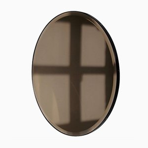 Orbis™ Bevelled Round Bronze Tinted Mirror with Black Metal Frame Large by Alguacil & Perkoff Ltd