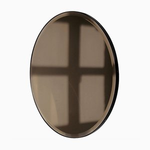 Orbis™ Bevelled Round Bronze Tinted Mirror with Black Metal Frame Oversized by Alguacil & Perkoff Ltd