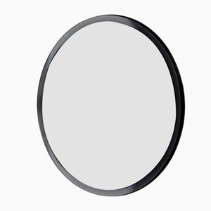 Orbis™ Bevelled Black Round Frameless Mirror with Faux Leather Backing Medium by Alguacil & Perkoff Ltd