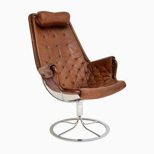 Sedia vintage in metallo cromato e pelle di Bruno Mathsson per Dux, anni '60