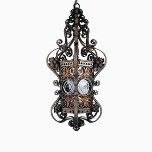 Antique Wrought Iron Outdoor Ceiling Lamp, 1880s