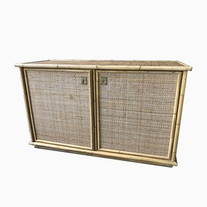 Mid-Century Wicker and Bamboo Buffet from Dal Vera