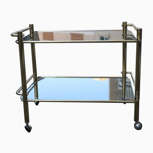 Asymmetric Bar Trolley in Solid Brass, 1970s