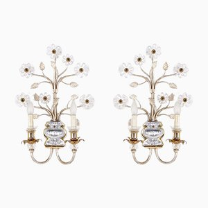 Golden Floral Sconces from Banci Firenze, 1970s, Set of 2
