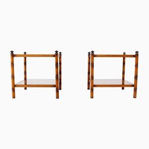 Tavolini in bambù e ottone, anni '70, set di 2