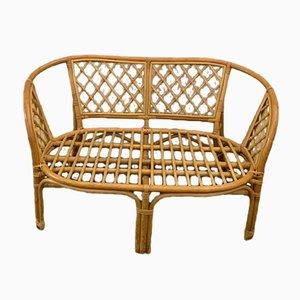 Korbgeflecht & Bambus Sofa, 1970er