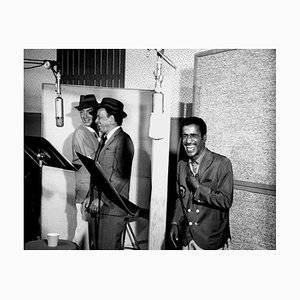 Rat Pack Recording Session Archival Pigment Print Framed in White by Michael Ochs Archive