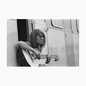 Francoise Hardy Archival Pigment Print Framed in White by Giancarlo Botti