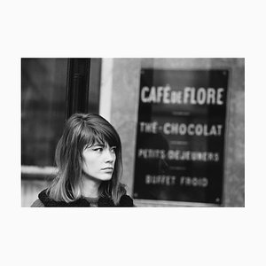 Francoise Hardy at Café Flore Archival Pigment Print Framed in White by Giancarlo Botti