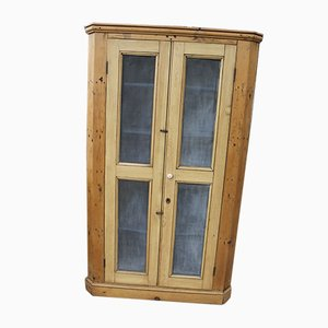 Antique Country Pine Corner Cupboard with Mesh