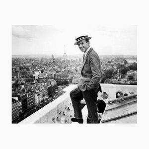 Fred Astaire & the Parisian Skyline Archival Pigment Print Framed in Black by Everett Collection
