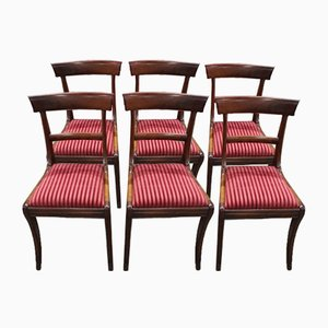 Antique Mahogany Barback Dining Chairs Pop out Seats, Set of 6