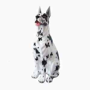 Large Ceramic Doberman Dog Sculpture, Italy, 1970s