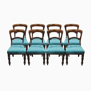 Antique Mahogany Dining Chairs with Pop out Seats in Blue, 1900s, Set of 8