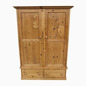 Country Pine 2-Door Wardrobe with Base Drawers, 1960s