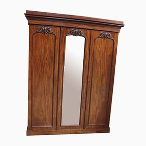 Antique Victorian Mahogany 3-Door Wardrobe with Good Interior