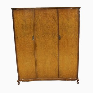 Burr Walnut 3-Door Wardrobe, 1960s