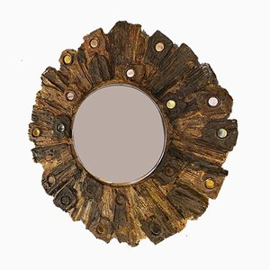 Vintage Ceramic Mirror by Jacky Coville, France, 1970s