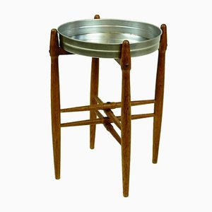 Danish Circular Teak Side Table with Tray Top by Poul Hundevad