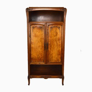 Antique Art Nouveau French Carved Wood Cabinet by Louis Majorelle