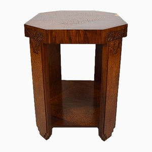 Art Deco Walnut Floral Side Table by Follot Paul, 1920s