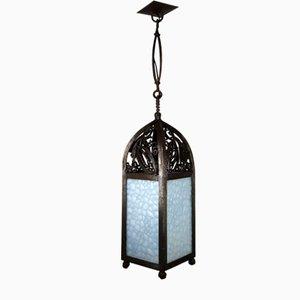 Lampada da ingresso o da ingresso in stile Art Nouveau modernista in ferro battuto