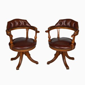 Vintage Chesterfield Style Wood and Leather Swivel Office Chairs, Set of 2