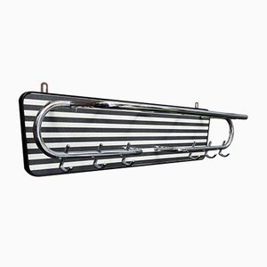 Bauhaus Two-Tone Chrome & Vinyl Coat Rack, 1930s