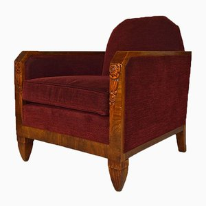 Art Deco Carved Walnut Club Chair by Maurice Dufrene & Paul Follot, 1925