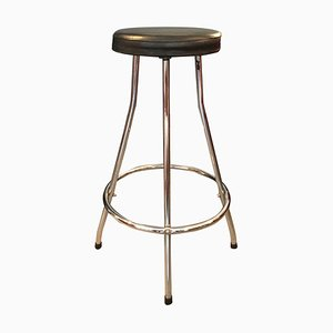 Vintage Stool with Tubular Steel Structure & Black Leather Seat