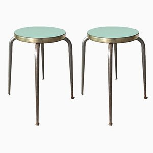 Mid-Century Industrial Stools with Steel Structure, Set of 2