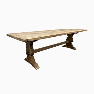 Large French Oak Refectory Trestle Farmhouse Dining Table