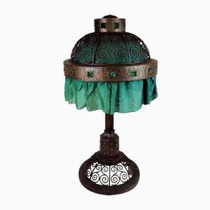 Grande Lampe de Bureau Art Nouveau en Fer Forgé dans le Style d'Edgar Brandt, 1900s