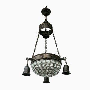 Antique Art Nouveau Berlin Clear Humped Glass Ceiling Lamp, 1900s