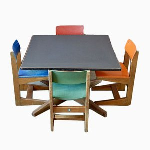 Children's Table & Chairs from Zschocke, 1960s, Set of 5