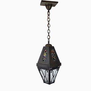 Lanterna da esterno antica Art Nouveau in ottone, tinta e vetro, inizio XX secolo