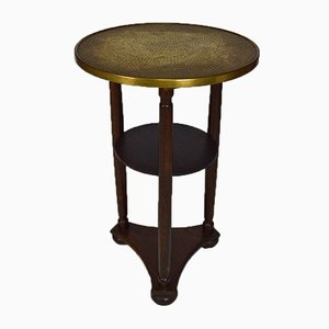 Art Nouveau Austrian Side Table with Embossed Brass Top by Josef Hoffmann for Wiener Werkstätte, 1910