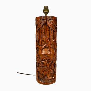 Asiatische Mid-Century Tischlampe aus geschnitztem Holz, 1940er