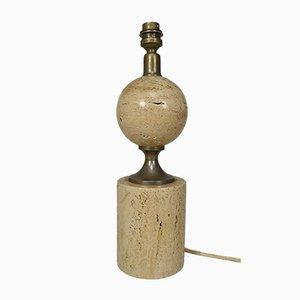 Travertin Tischlampe von Philippe Barbier, 1960er