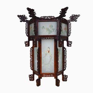 Große antike geschnitzte asiatische Laterne mit Drachen & bemalten Glasplatten, 1900er